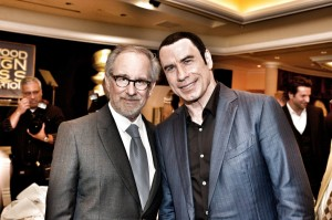 From left, Steven Spielberg and John Travolta