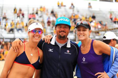 Jeff Conover with beach volleyball players.