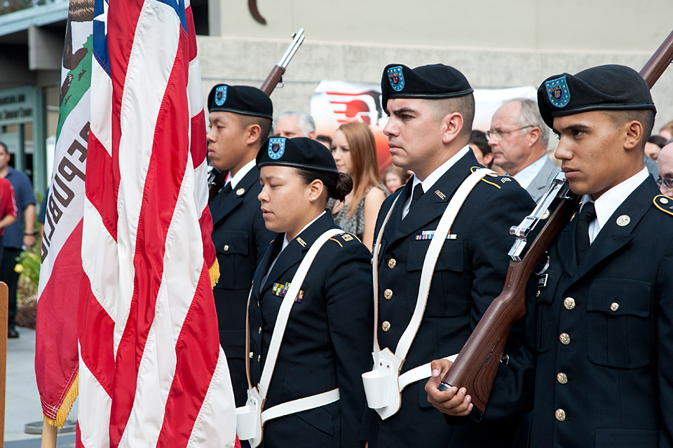 Members of the UCLA and CSUN Army ROTC standing in a line at the opening of the CSUN Veterans Resource Center ceremony