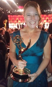 Lacey Dyer with the Emmy. Photo courtesy of Lacey Dyer.