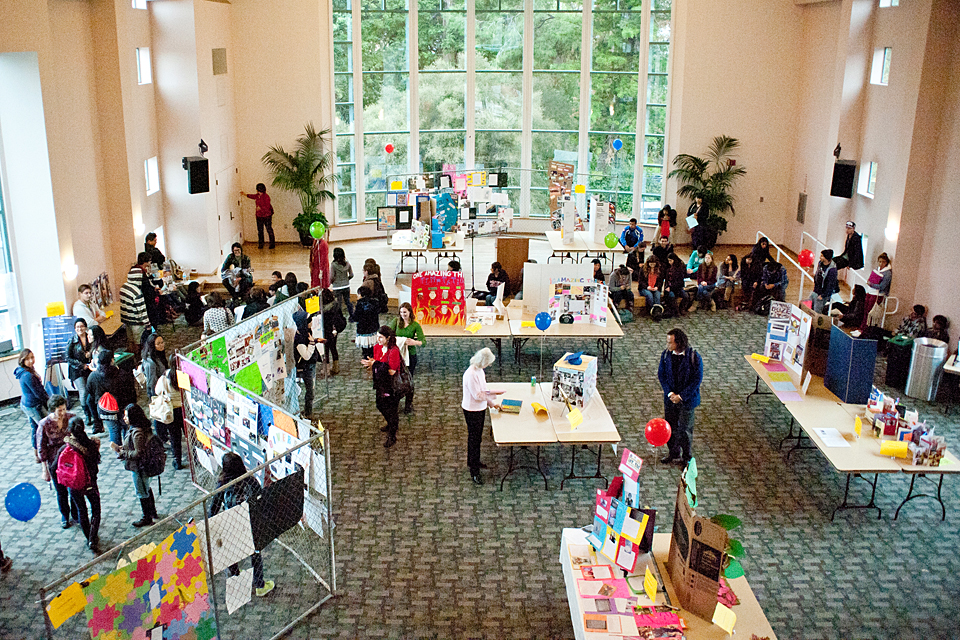 Hundreds of freshmen students filled Cal State Northridge's Grand Salon to share and display their Freshman Celebration projects
