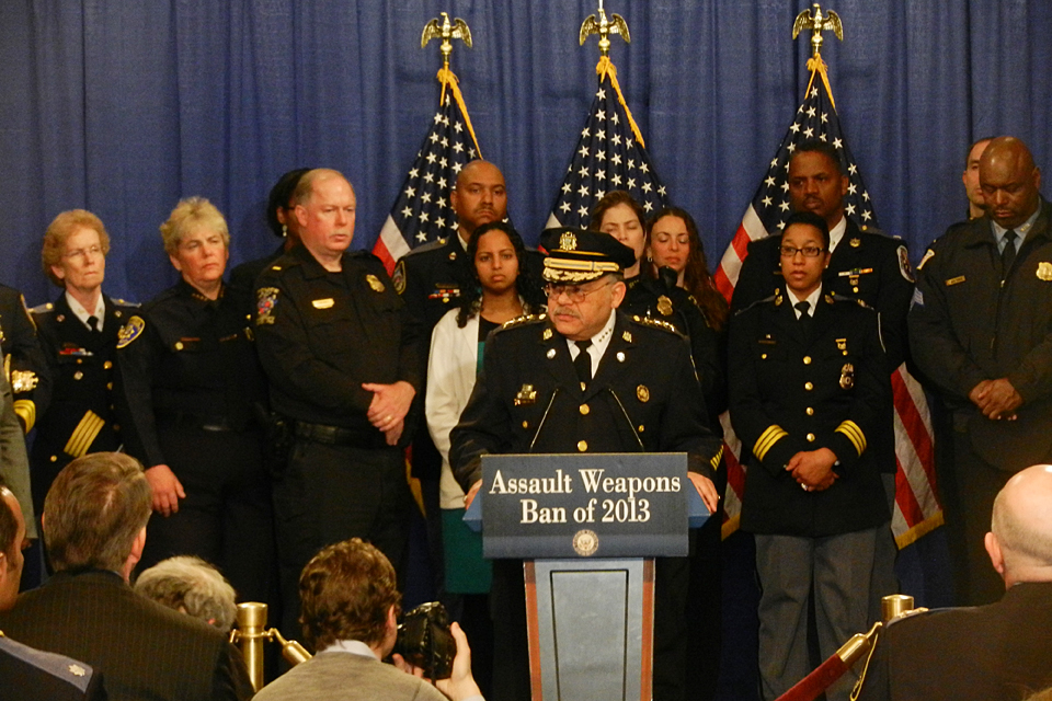 CSUN Chief of Police Anne P. Glavin (second from the left) standing with a broad coalition of law enforcement officials and others at a press conference called by Democratic Sen. Dianne Feinstein to reintroduce legislation to ban assault weapons. At the podium, Charles H. Ramsey (center), Police Commissioner of the Philadelphia Police Department, spoke for Major City Chief and International Association of Chiefs of Police.
