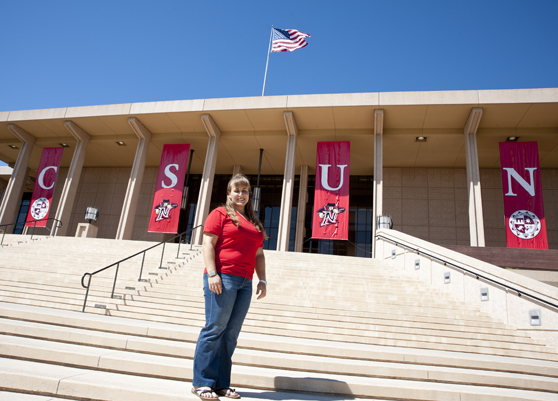 Leanne Stein on the Oviatt Library steps