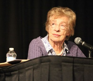 Eva Schloss, Anne Frank's stepsister, speaks about her experiences during the holocaust at the Northridge Center.  Photo by Loren Townsley, Daily Sundial Photo Editor
