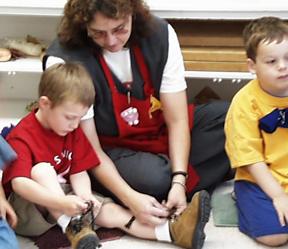 Children and a teacher at CSUN's 'Lab School.'