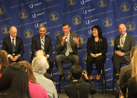 Speakers address questions from the community and media about the SJSU/Udacity partnership.  From left to right: California Governor Edmund G. Brown, SJSU President Mohammad Qayoumi, CSU Chancellor Timothy P. White, SJSU Provost/Vice President for Academic Affairs Ellen Junn and Udacity CEO/Co-Founder Sebastian Thrun.