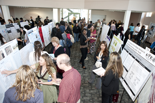 Students presenting their research in various disciplines at last year's Student Research and Creative Works Symposium. This year's event will take place on Feb. 15.