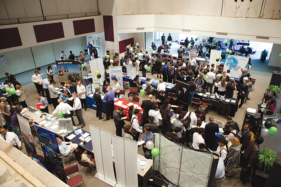 Several companies and recruiters who attended the College of Engineering and Computer Science's Tech Fest last year.