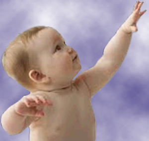 A baby reaching up