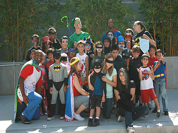 Campers and counselors enjoy a superhero-themed camp day at Sunny Days Camp last year.