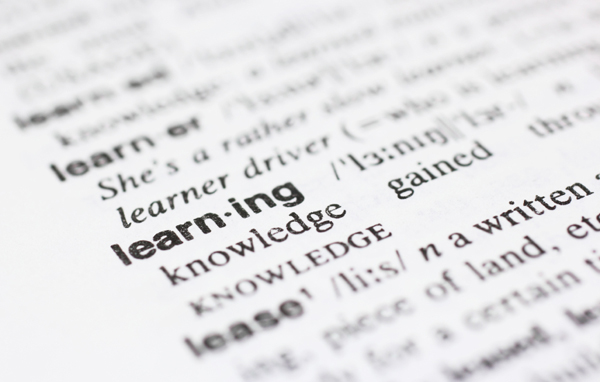 """Page from dictionary highlighting the word """"learning"""""""