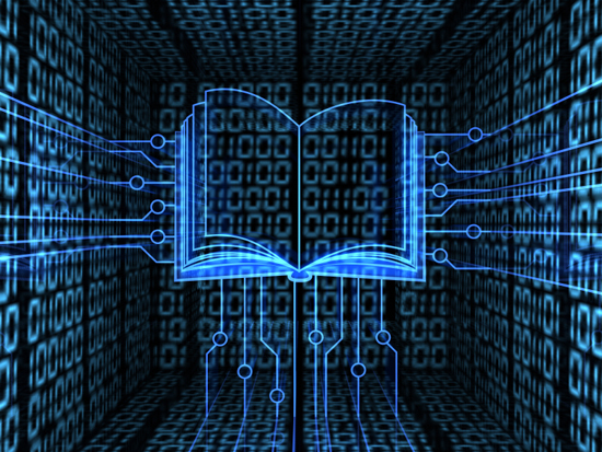 Illustration of book against digital-matrix background
